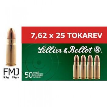 NABOJ S&B. 7,62X25 TOKAREV, 5,5G FMJ, 50 PAK